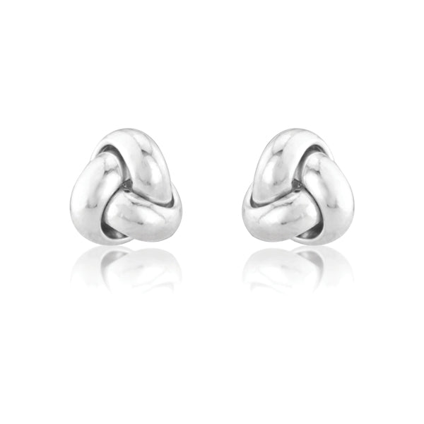 9ct White Gold Knotted Stud Earrings