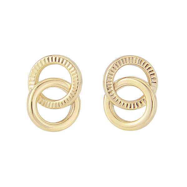 9ct Gold Circles Stud Earrings