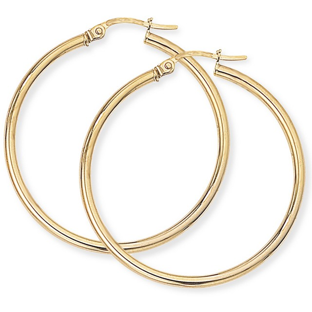 9ct Gold Plain Hoop Earrings