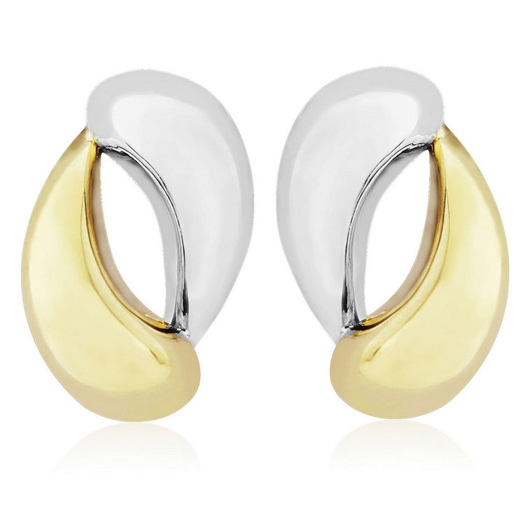 9ct White Gold & Gold Teardrop Stud Earrings