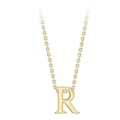 9ct Gold Initial R Pendant & Chain