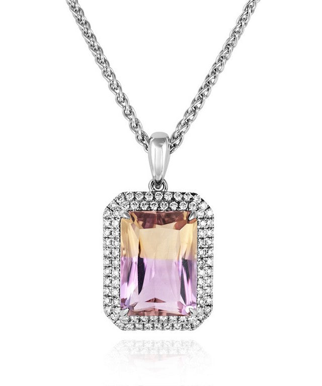 18ct Ametrine & Diamond Necklace
