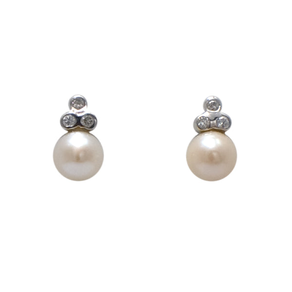 18ct Pearl & Diamond Earrings