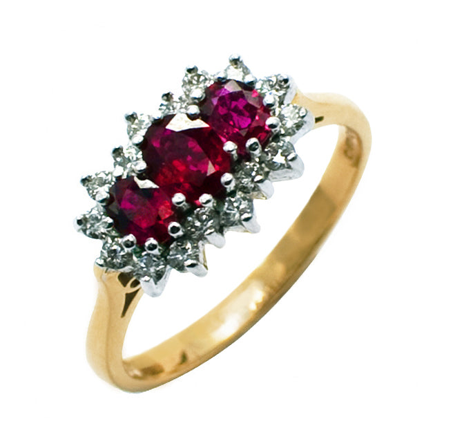 18ct Ruby & Diamond Cluster Ring