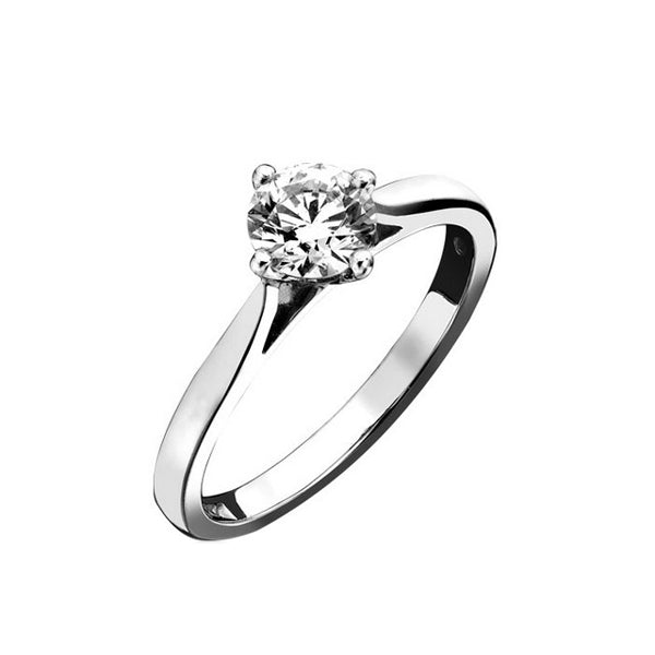 18ct White Gold Four Claw Diamond Ring