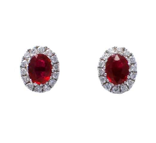 18ct Ruby & Diamond Cluster Earrings