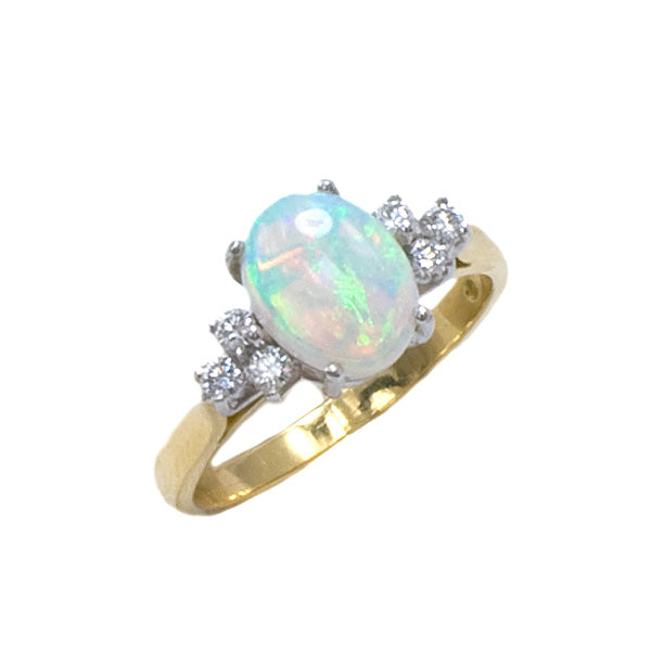 18ct Gold Opal & Diamond Ring