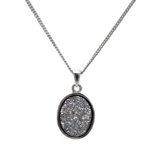 925 Silver Druzy Pendant On Chain