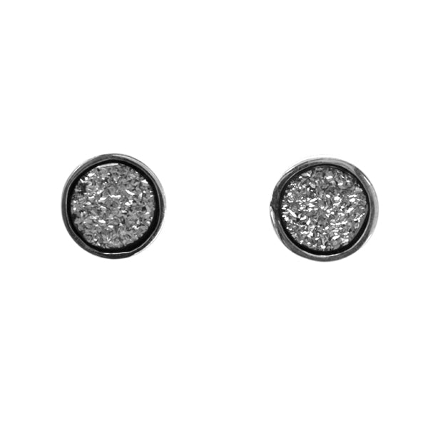 925 Silver Druzy Stud Earrings