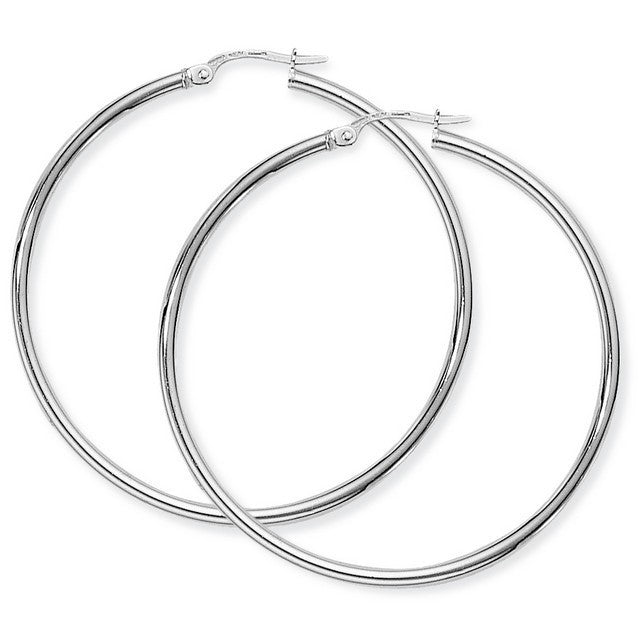 9ct White Gold Plain Hoop Earrings