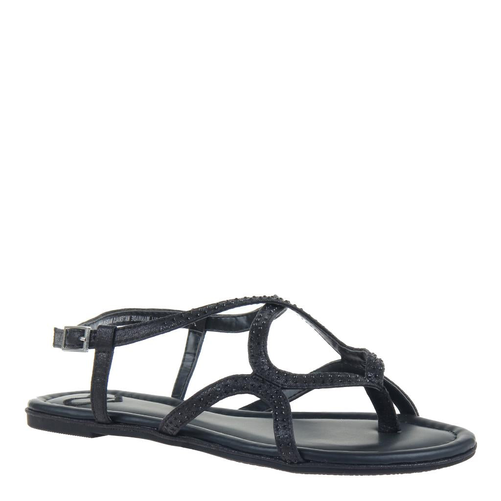 6207c77f335c Deco in Black Flat Sandals