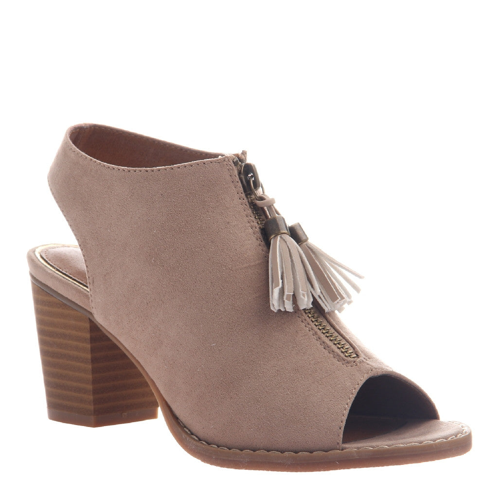 ETHERNAL in MEDIUM TAUPE Open Toe Booties