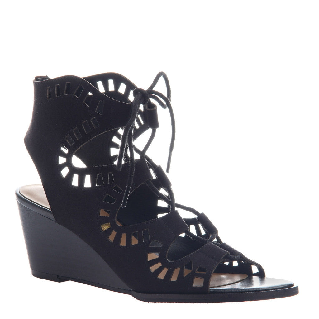 MORNING GLORY in BLACK Wedge Sandals