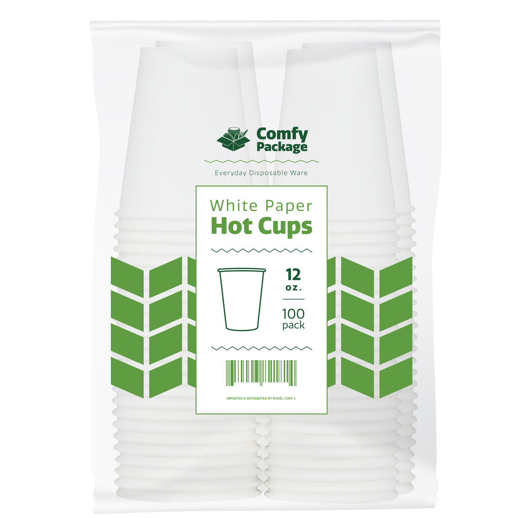 12 oz. White Paper Hot Cups - Comfy Package