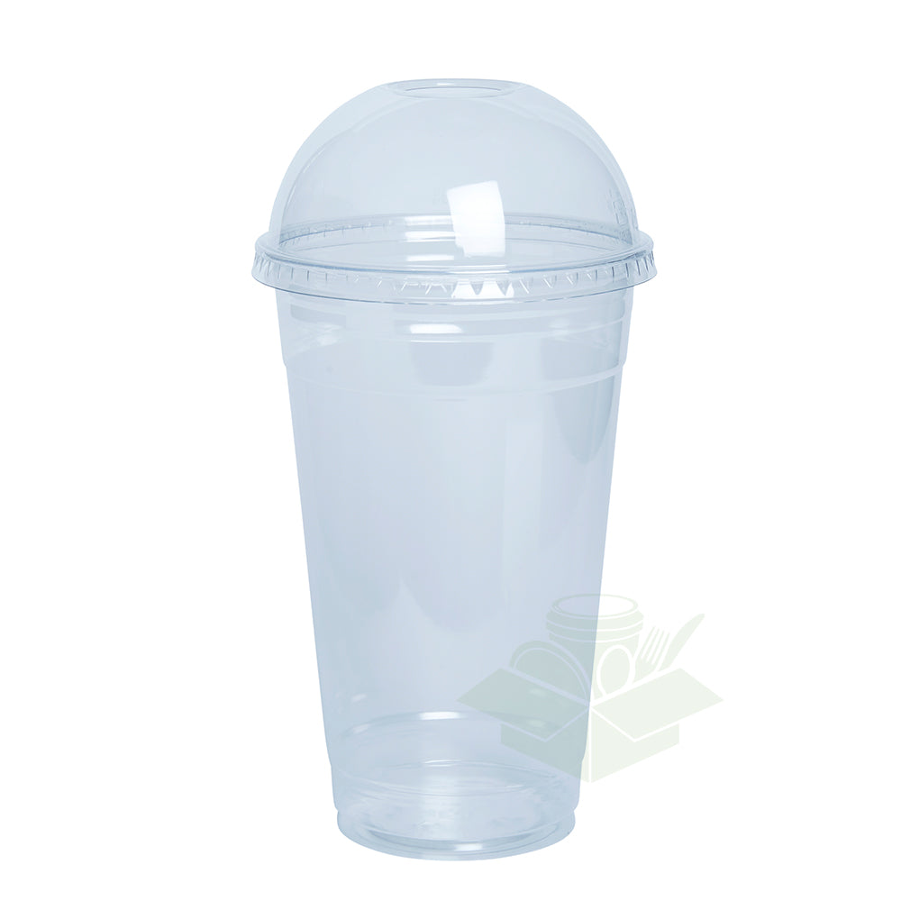 24 oz. Clear Plastic Cups With Dome Lids