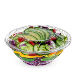 24 oz. Plastic Salad Bowls To-Go With Airtight Lids - Comfy Package