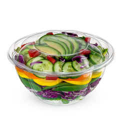 32 oz. Plastic Salad Bowls To-Go With Airtight Lids, Salad Containers