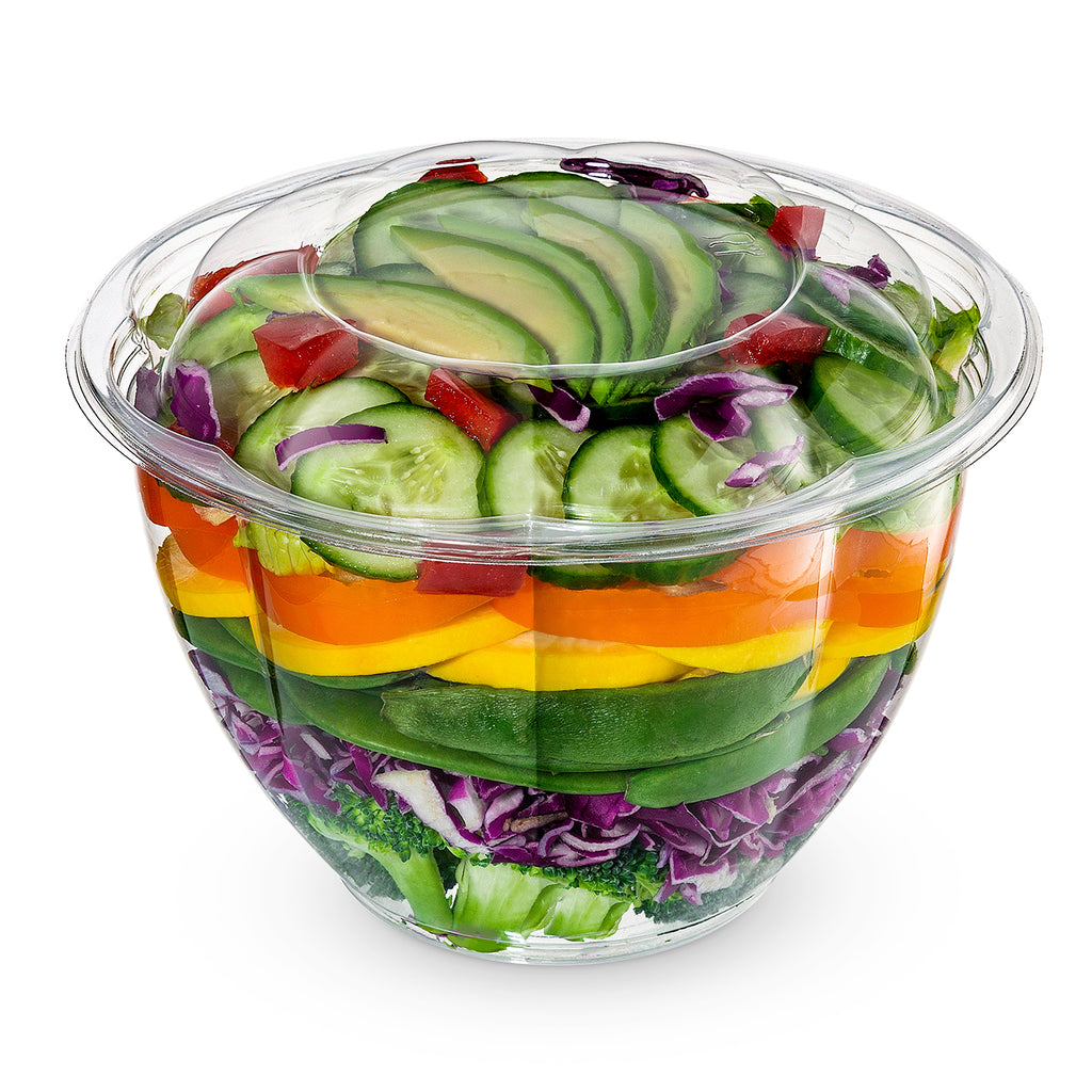 48 oz. Plastic Salad Bowls To Go With Airtight Lids