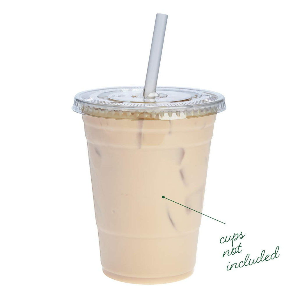 [100 Pack] Crystal Clear PET Plastic Flat Lids With Straw Slot for 12, 16, 20 & 24 oz. Milkshake Cups - Comfy Package