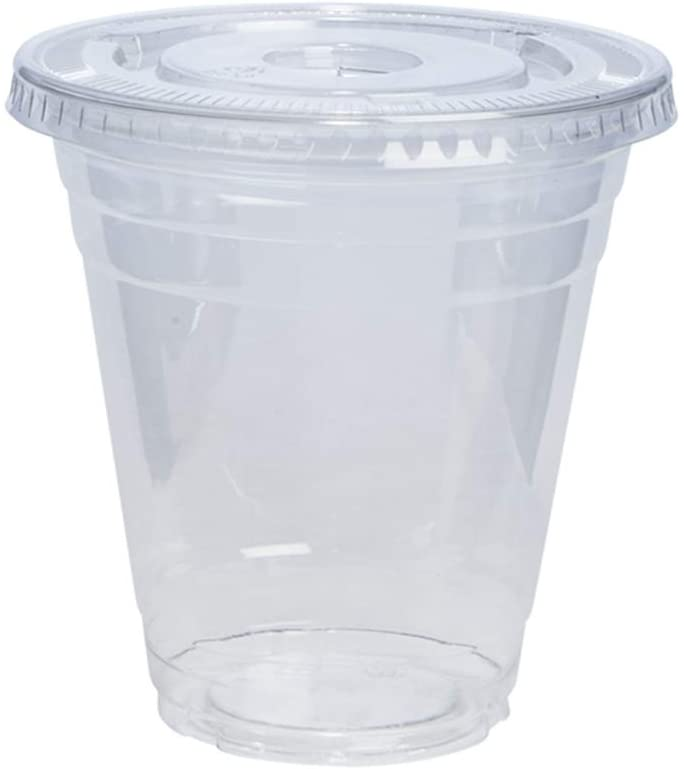 12 oz. Crystal Clear Plastic Cups with Lids