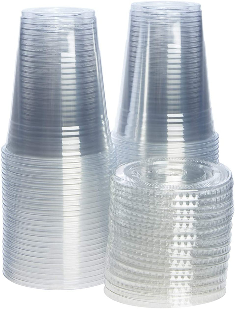 16 oz. Clear Plastic Cups with Flat Lids