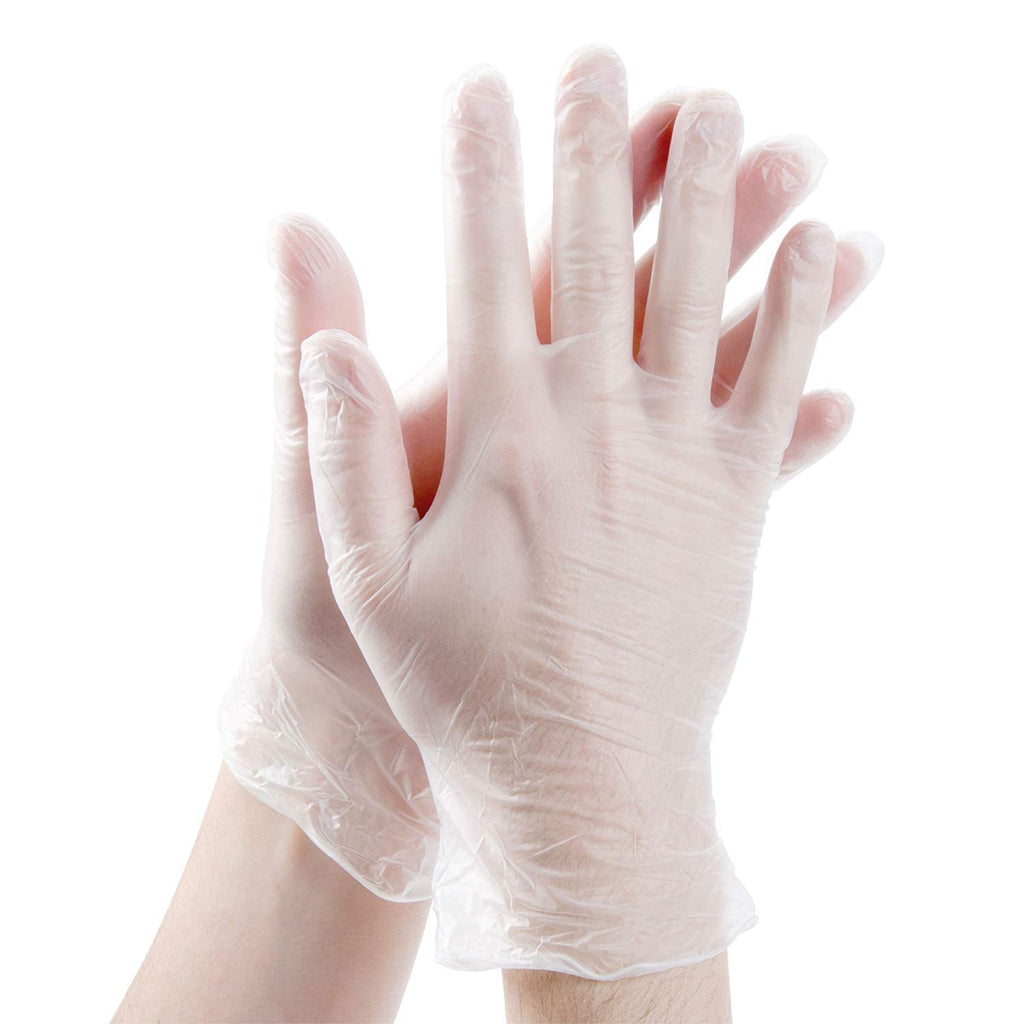 Clear Powder Free Vinyl Disposable Plastic Gloves - Large