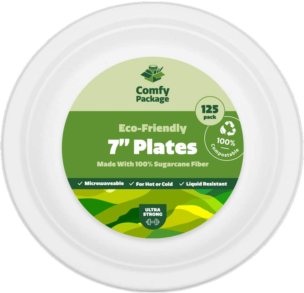 100% Compostable 7 Inch Heavy-Duty Plates [125 Pack] Eco-Friendly Disposable Sugarcane Paper Plates