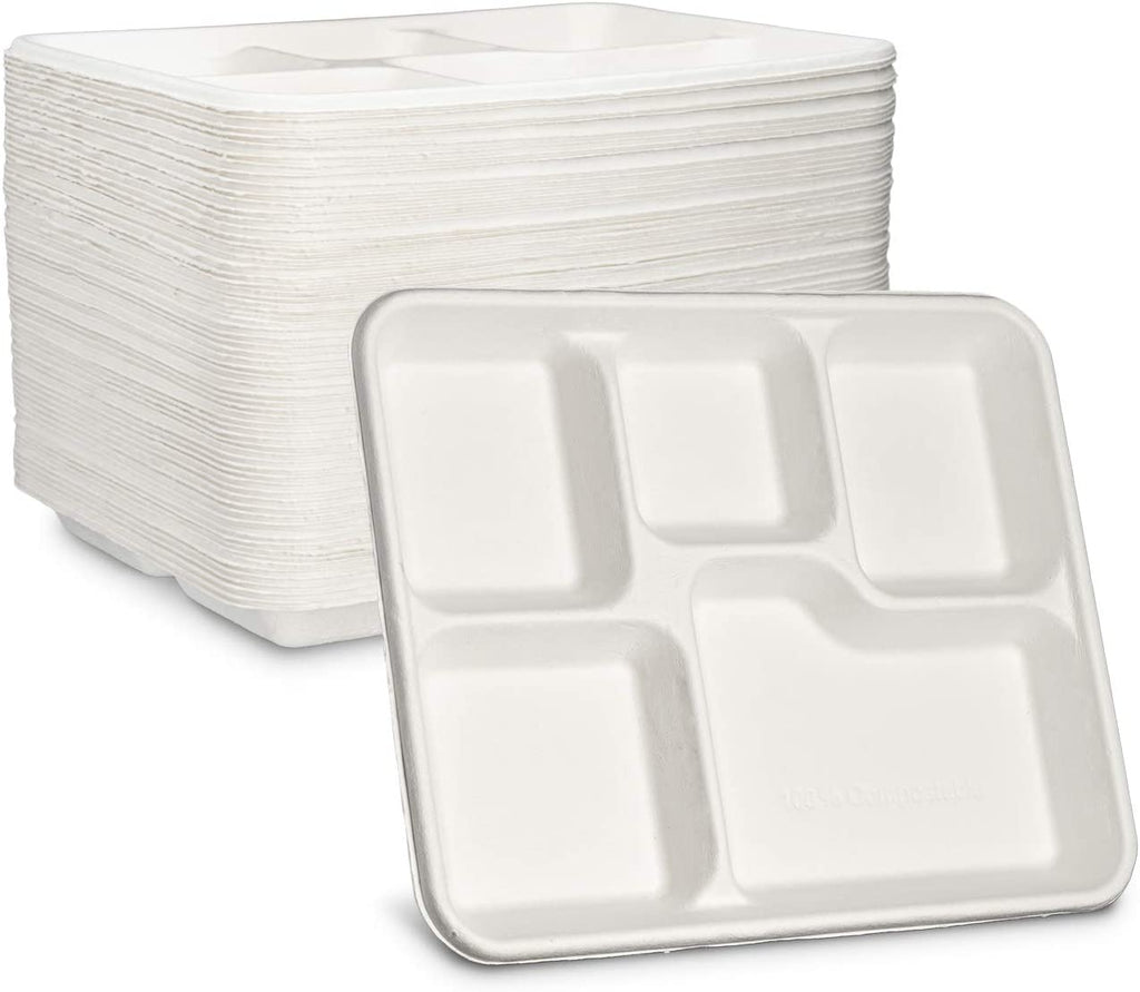 100% Compostable 5 Compartment Plates Eco-Friendly Disposable Sugarcane 10 inch Paper Trays