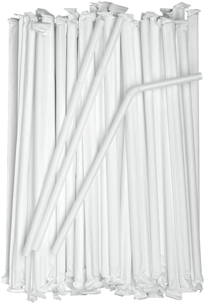 Individually Wrapped White Plastic Flexible Drinking Straws