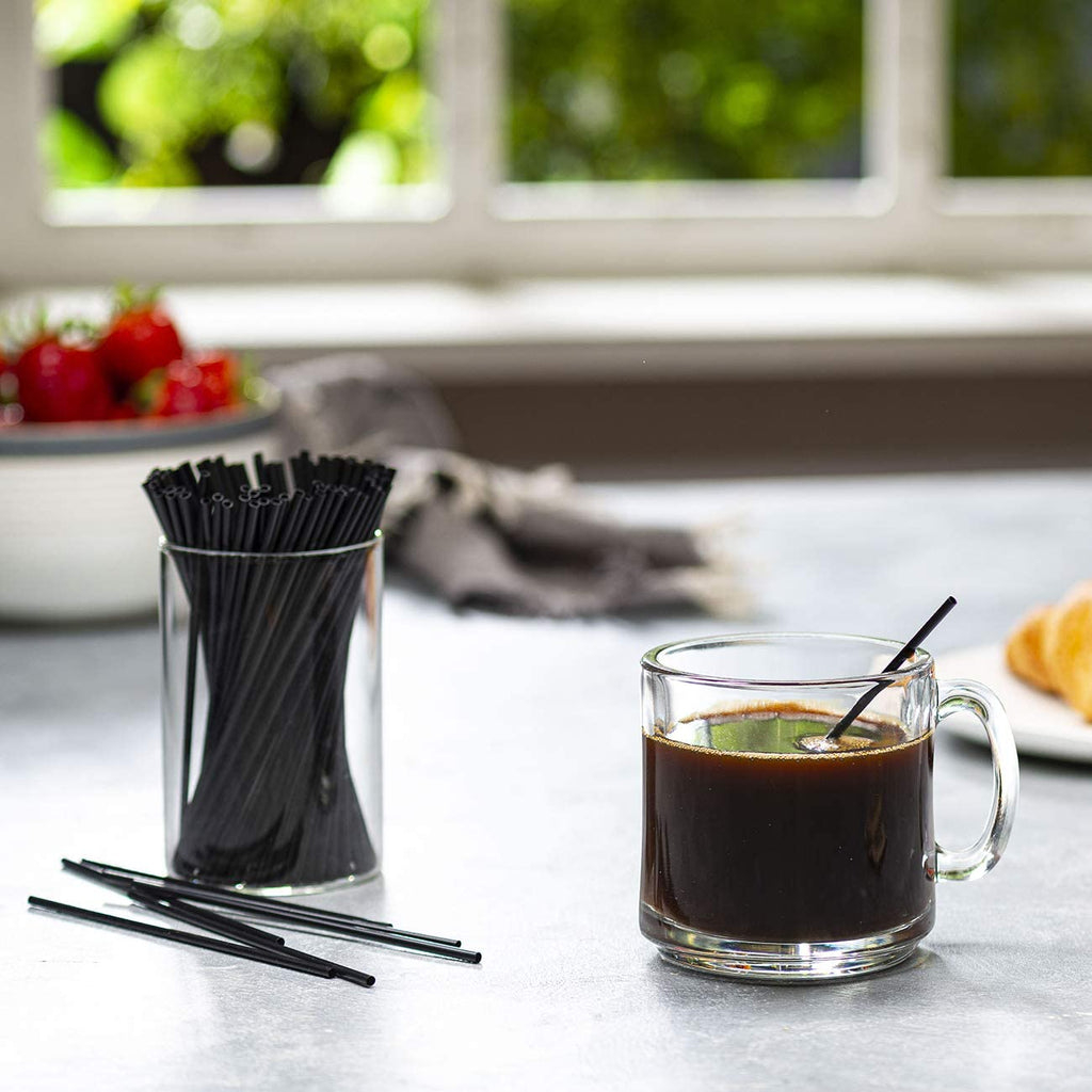 5 Inch Plastic Sip Stirrers/Straws - Disposable Stir Sticks for Coffee & Cocktail - Black