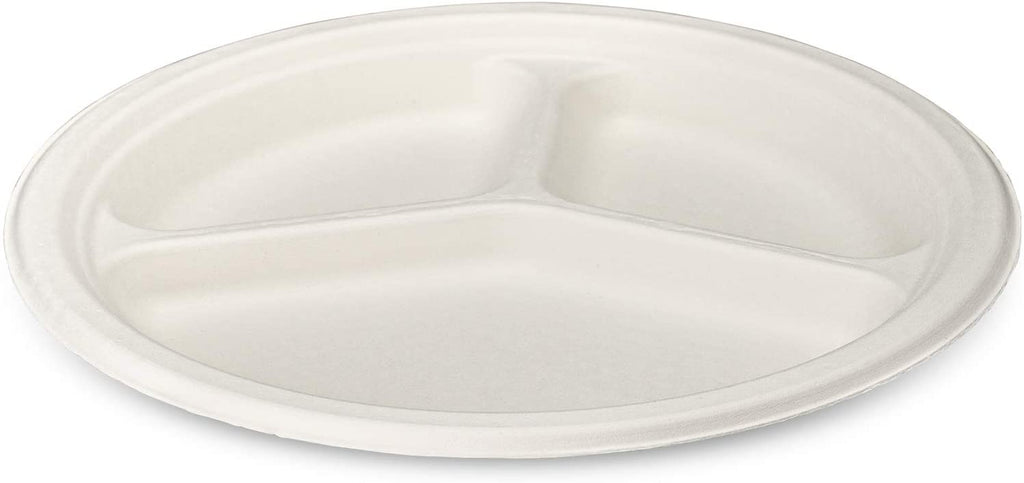 100% Compostable 10 Inch Heavy-Duty Plates 3 Compartment Eco-Friendly Disposable Sugarcane Paper Plates