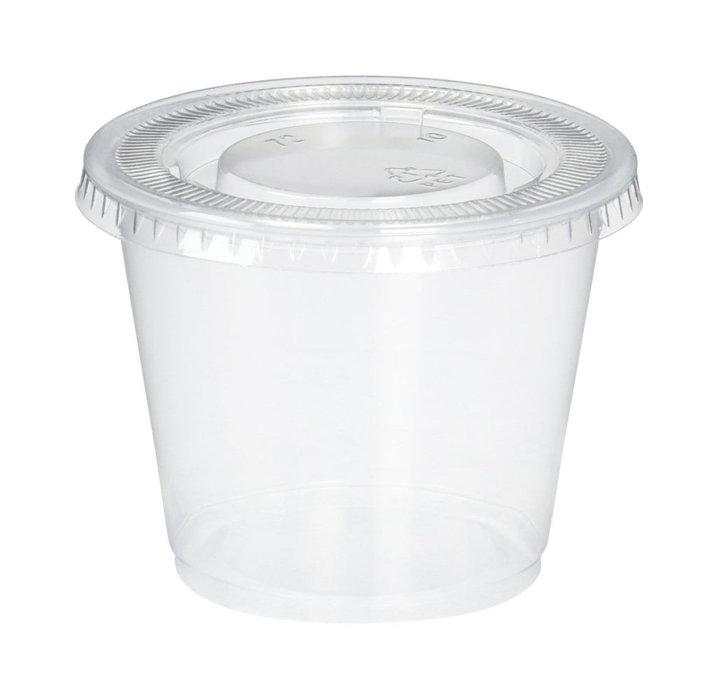 5.5 oz. Plastic Disposable Portion Cups With Lids - Souffle Cups - Comfy Package
