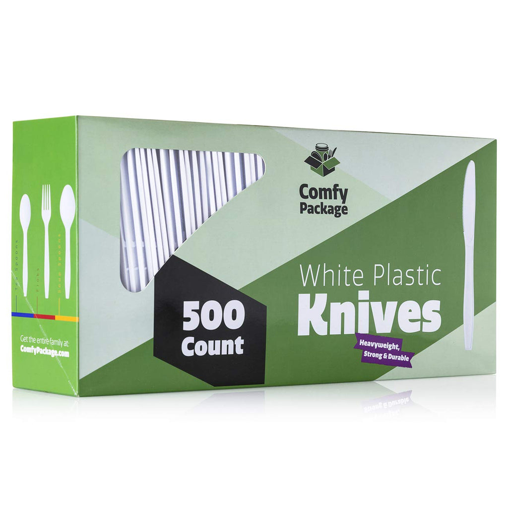 [500 Pack] Extra Heavyweight Disposable White Plastic Knives