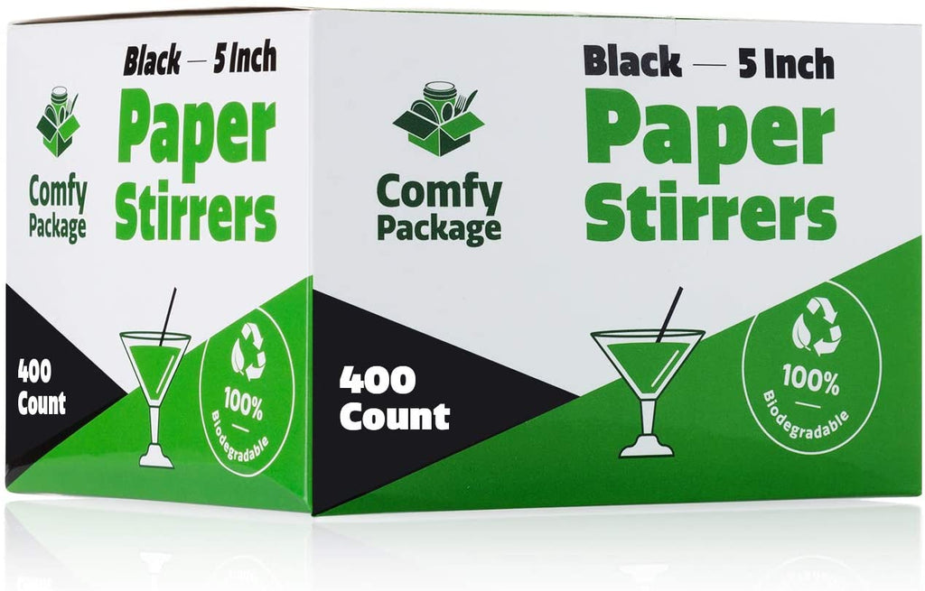 100% Biodegradable Paper Sip Stirrer/Straws - Black