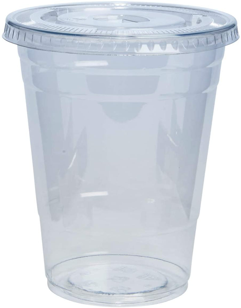 16 oz. Plastic Cups with Flat Lids and Straws