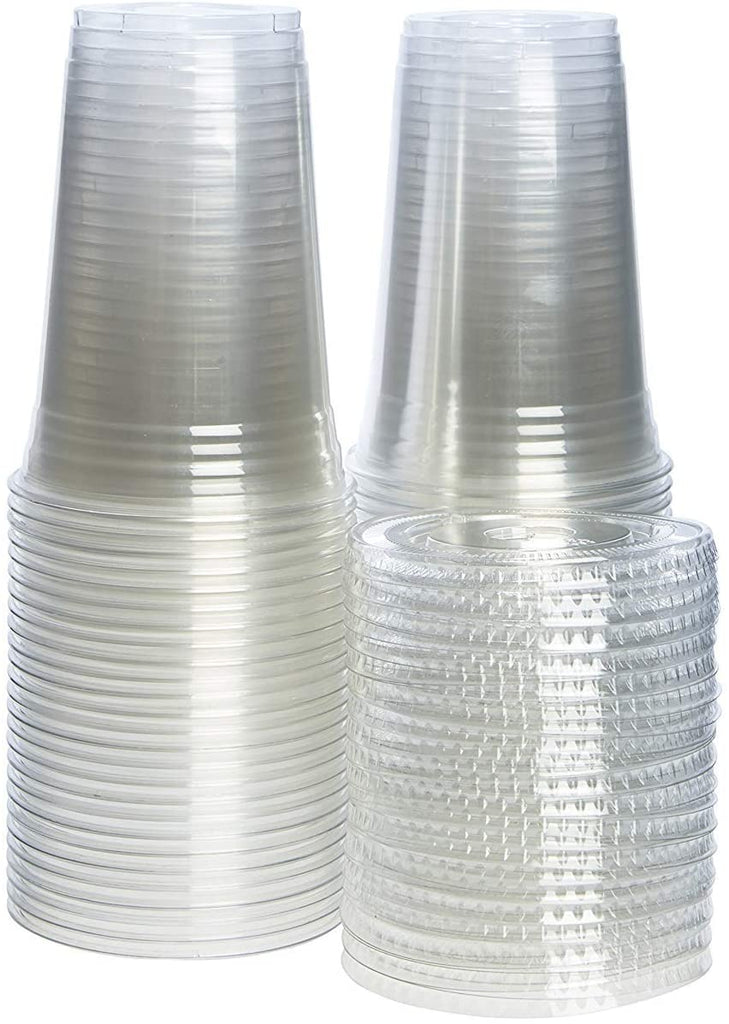 20 oz. Crystal Clear Plastic Cups with Lids