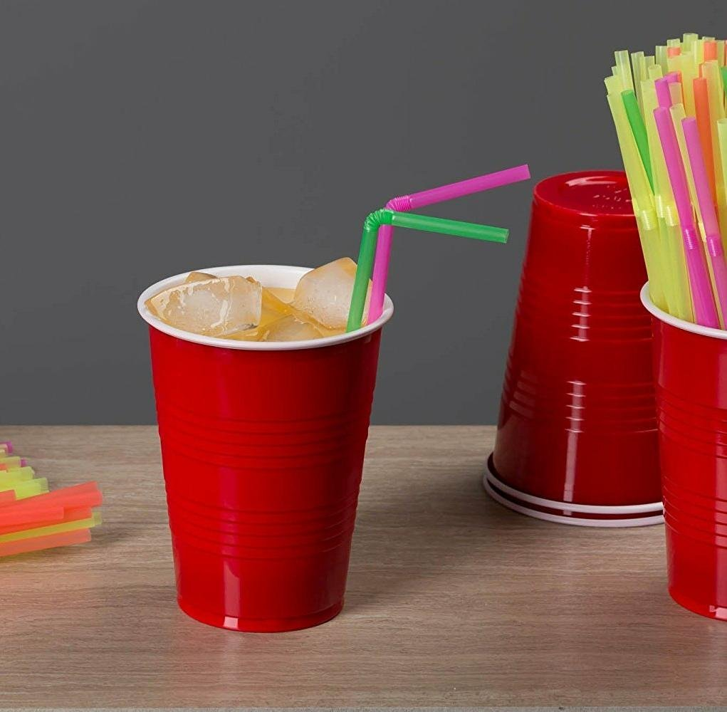 Neon Colored Flexible Drinking Straws