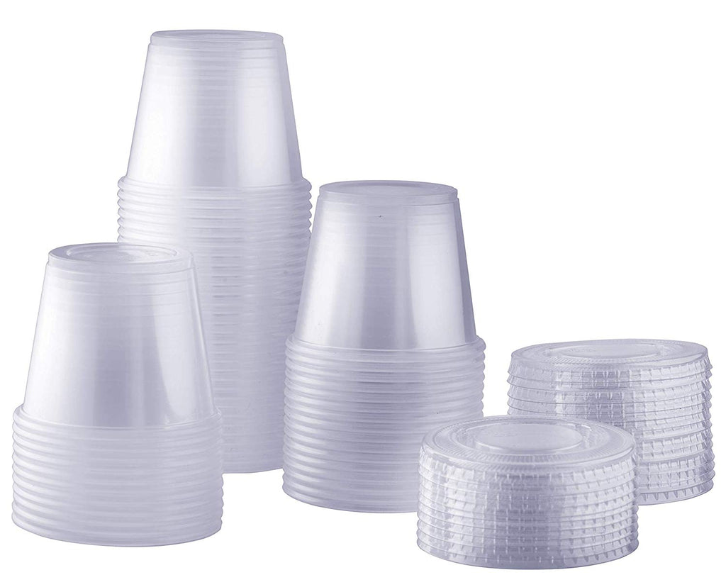 5.5 oz. Plastic Disposable Portion Cups With Lids - Souffle Cups