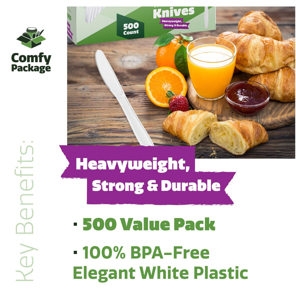 [500 Pack] Extra Heavyweight Disposable White Plastic Knives - Comfy Package