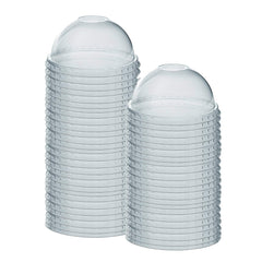 [100 Pack] Crystal Clear PET Plastic Dome Lids With Straw Slot for 12, 16, 20 & 24 oz. Milkshake Cups - Comfy Package