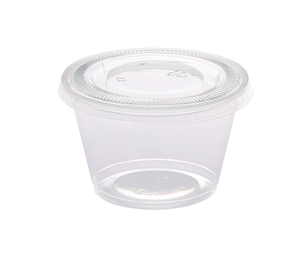 4 oz. Plastic Disposable Portion Cups With Lids - Souffle Cups