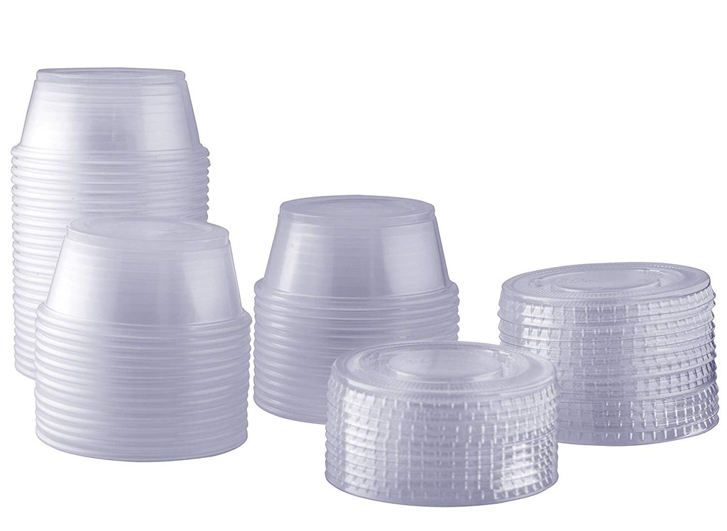 3.25 oz. Plastic Disposable Portion Cups With Lids - Souffle Cups - Comfy Package