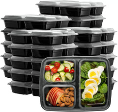 Comfy Package Meal Prep Containers With Lids, 3 Compartment Lunch Containers, Bento Boxes, Food Storage Containers - 32 oz.