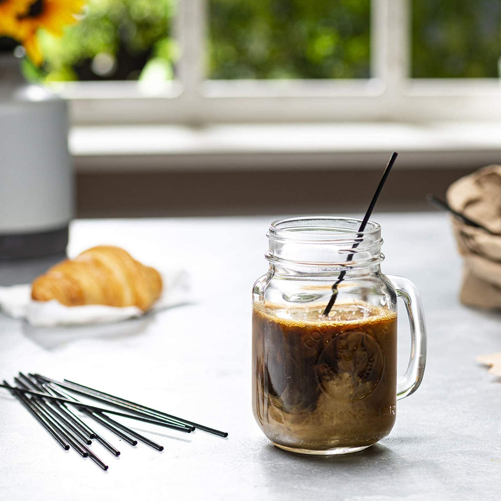 7 Inch Plastic Sip Stirrers/Straws - Disposable Stir Sticks for Coffee & Cocktail - Black