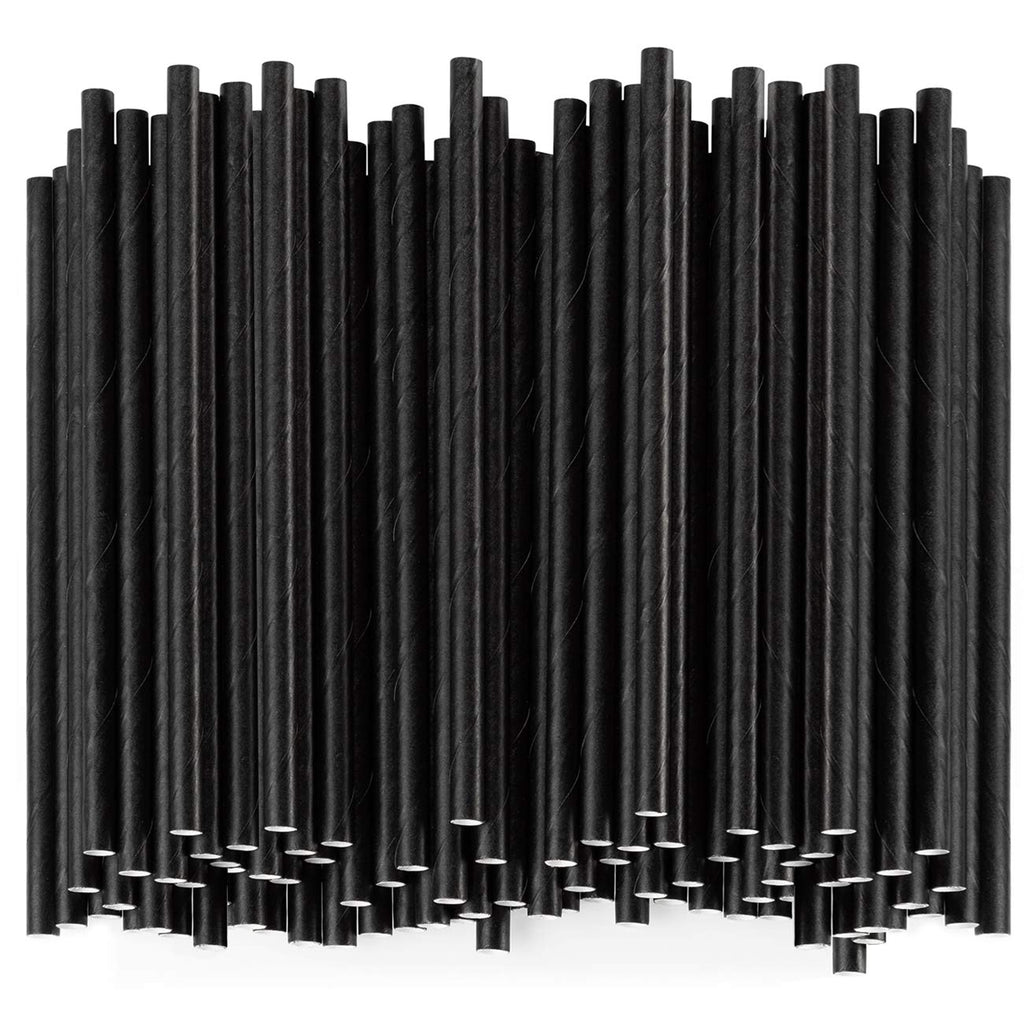 100% Biodegradable Paper Sip Stirrer/Straws - Black - Comfy Package