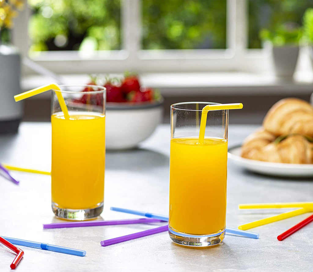 Flexible Disposable Plastic Drinking Straws - Assorted Colors