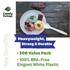 [500 Pack] Extra Heavyweight Disposable White Plastic Tea Spoons - Comfy Package
