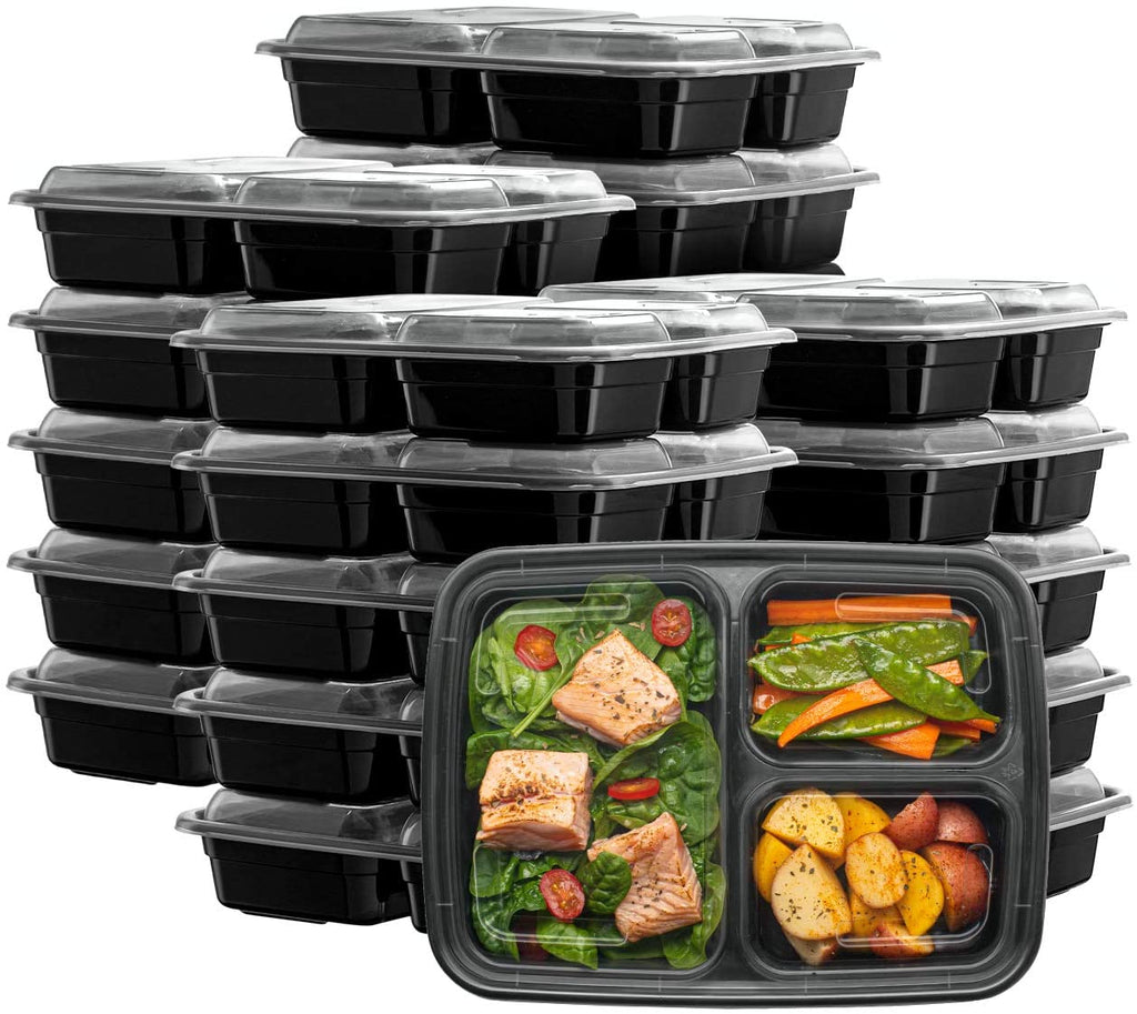 24 oz. Meal Prep Containers With Lids, 3 Compartment Lunch Containers, Bento Boxes, Food Storage Containers