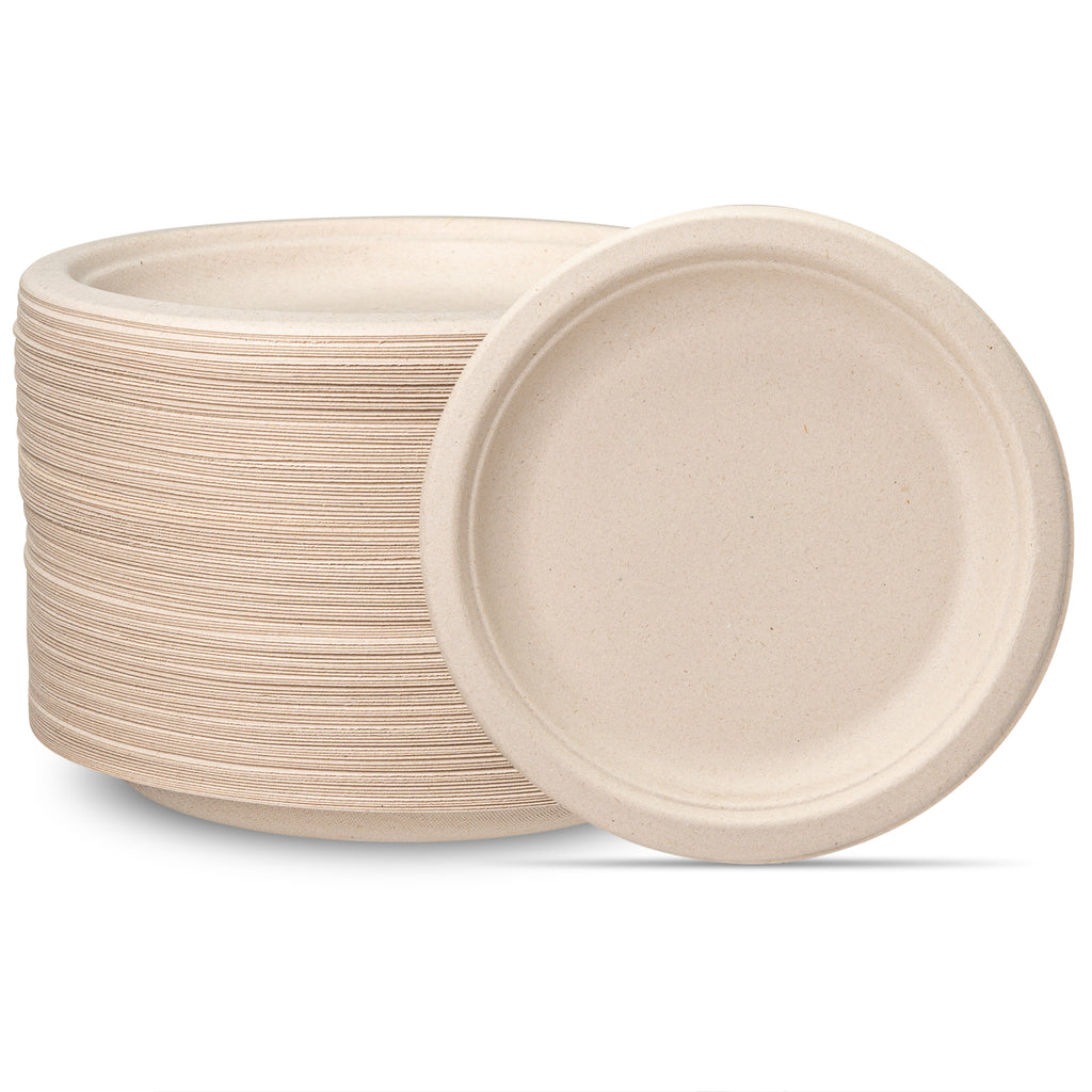 100% Compostable 7 Inch Heavy-Duty Plates [125 Pack] Eco-Friendly Disposable Sugarcane Paper Plates - Brown Unbleached