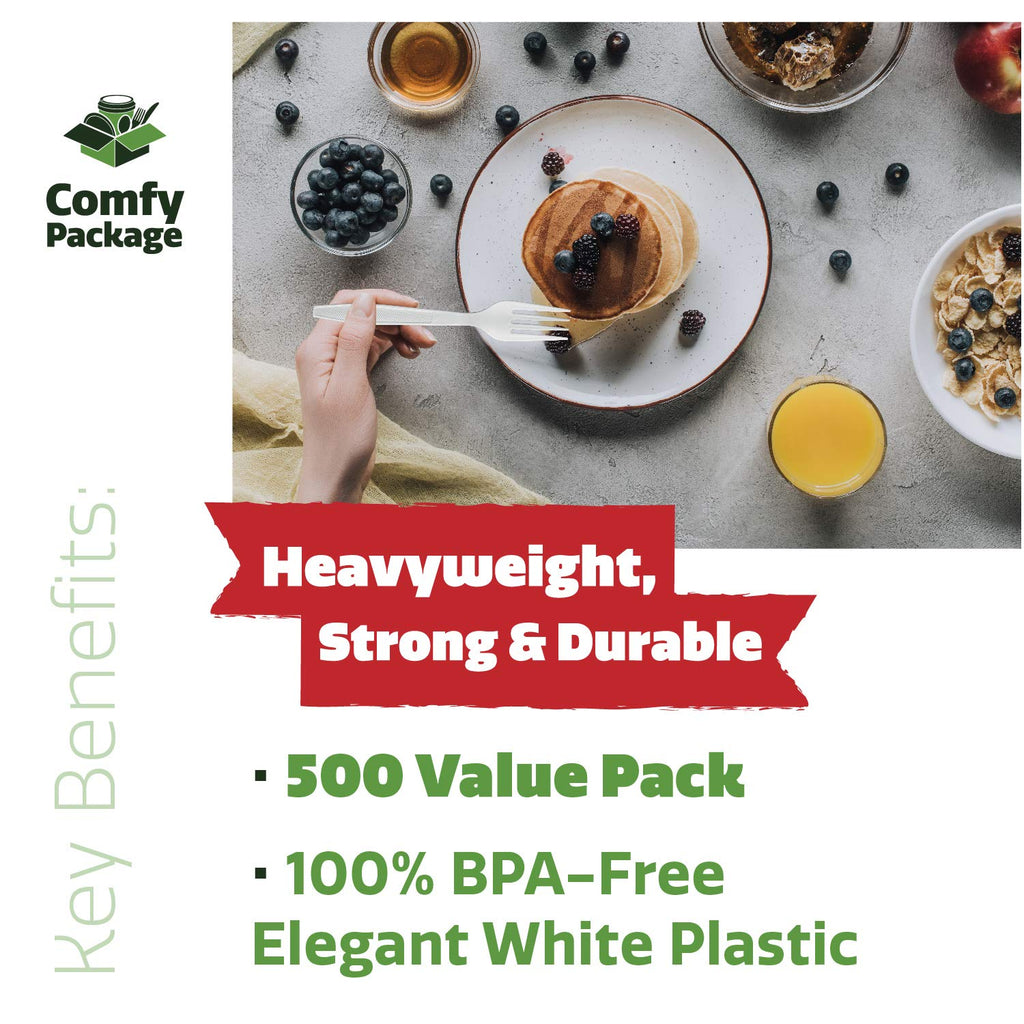 [500 Pack] Extra Heavyweight Disposable White Plastic Forks - Comfy Package